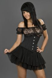 Candy underbust rockabilly waist training corset in pinstripe