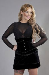 Candy underbust steel boned corset in black velvet flock and black fur