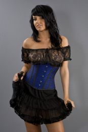 Candy underbust steel boned rockabilly corset in navy blue gingham
