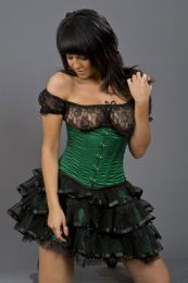 Candy underbust steel boned waist cincher in green satin