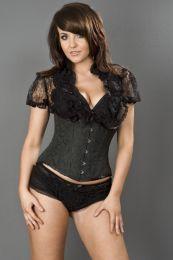 Candy underbust steel boned waist training corset in black scroll brocade