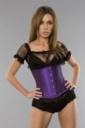 Candy underbust steel boned waist training corset in purple taffeta
