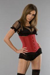 Candy underbust steel boned waist training corset in red taffeta