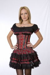 Candy underbust steel boned waist training corset in red tartan