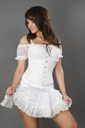 Candy underbust steel boned waist training corset in white satin and white lace overlay