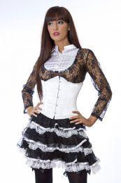 Candy underbust steel boned waist training corset in white taffeta