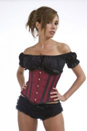 Candy underbust waist cincher corset in burgundy and black satin