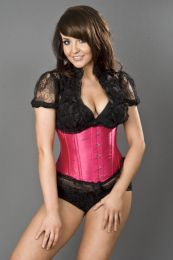 Candy underbust waist cincher in neon pink satin and black lace frill