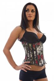 Candy underbust waist cincher in red rose and skull print