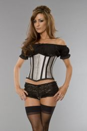 Candy underbust waist cincher in silver taffeta with black piping