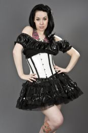 Candy underbust waist cincher in white and black PVC