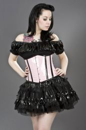 Candy underbust waist training cincher corset in pink and black PVC