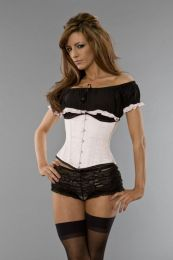 Candy underbust waist training corset in baby pink satin