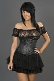 Candy underbust waist training corset in black satin