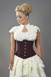 Candy underbust waist training corset in brown twill