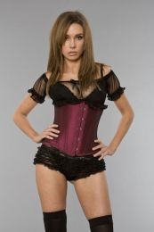 Candy underbust waist training corset in burgundy taffeta