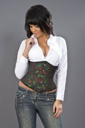 Candy underbust waist training corset in cherry brocade