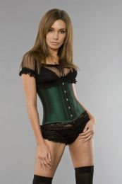 Candy underbust waist training corset in green taffeta