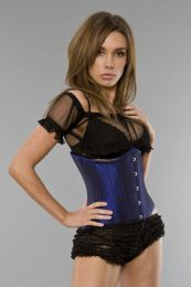 Candy underbust waist training corset in navy blue taffeta