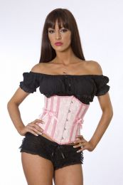 Candy underbust waist training corset in pink satin with pink bows