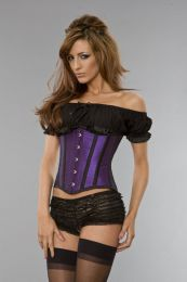 Candy underbust waist training corset in purple taffeta with black piping