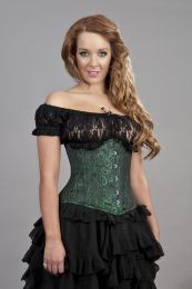 Candy underbust steel boned waist training corset in green scroll brocade