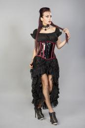 Candy underbust steel boned waist training corset in black pvc burgundy trim