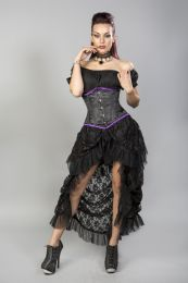 Candy underbust steel boned waist training corset in black satin purple trim