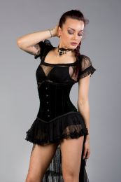 Candy underbust waist training corset in green velvet