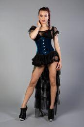 Candy underbust waist training corset in turquoise velvet