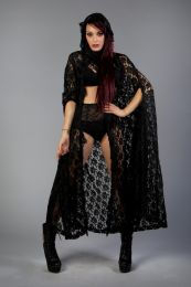 Hooded gothic victorian cape in black lace. Maxi lenght and frill details. Suitable for Halloween, Masquerade, Cosplay, Performance and Other Special Occasions.