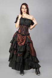 Elizium steel boned underbust corset in brass taffeta