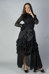 Catriana steampunk skirt in black taffeta