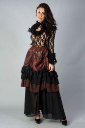 Catriana high low skirt in brass taffeta