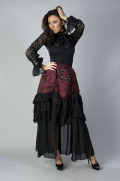 Catriana high low skirt in burgundy taffeta