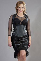 Cecillia underbust corset with straps in black matte vinyl