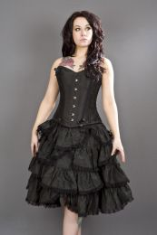 Chantelle overbust steel boned corset in black taffeta