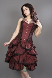 Chantelle overbust steel boned corset in burgundy taffeta