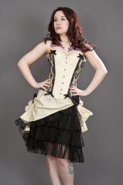 Chantelle overbust steel boned corset in cream taffeta