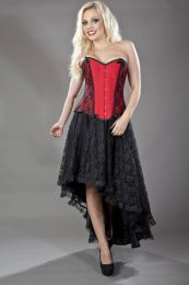 Chantelle overbust steel boned corset in red taffeta