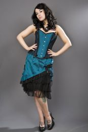 Chantelle overbust steel boned corset in tropical green taffeta