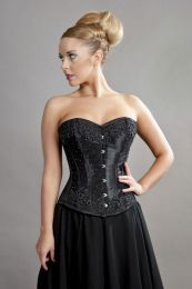Chelsea overbust steel boned corset in black satin and black mesh overlay