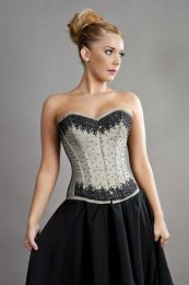 Chelsea overbust steel boned corset in cream satin and black mesh overlay