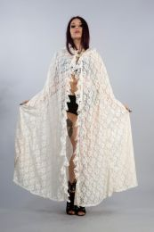Cherryl Hooded Cape in Black Lace and Red Mesh Lining
