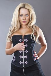 Cirque de Nuit overbust punk corset in black twill and lilac motif