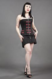 Cirque de Nuit overbust punk rock corset in black twill and red motif