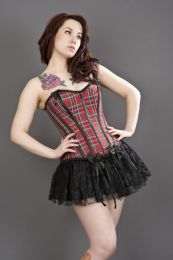 Daisy overbust burlesque corset in red tartan
