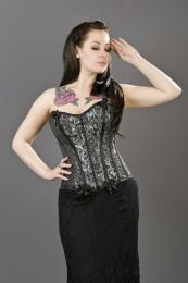 Daisy overbust fashion corset in silver scroll brocade