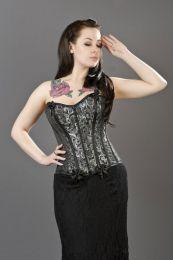 Daisy overbust fashion corset in silver scroll brocade