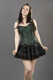 Daisy overbust lace up corset in green scroll brocade